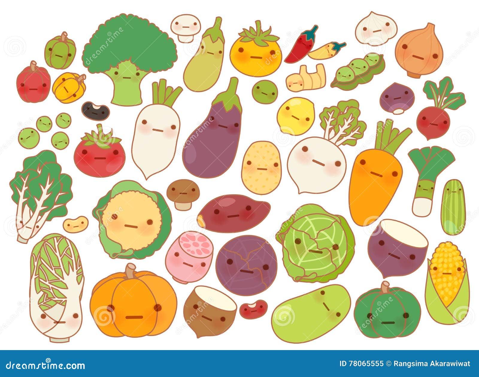 Coleção Do ícone Bonito Das Frutas E Legumes Cenoura Bonito