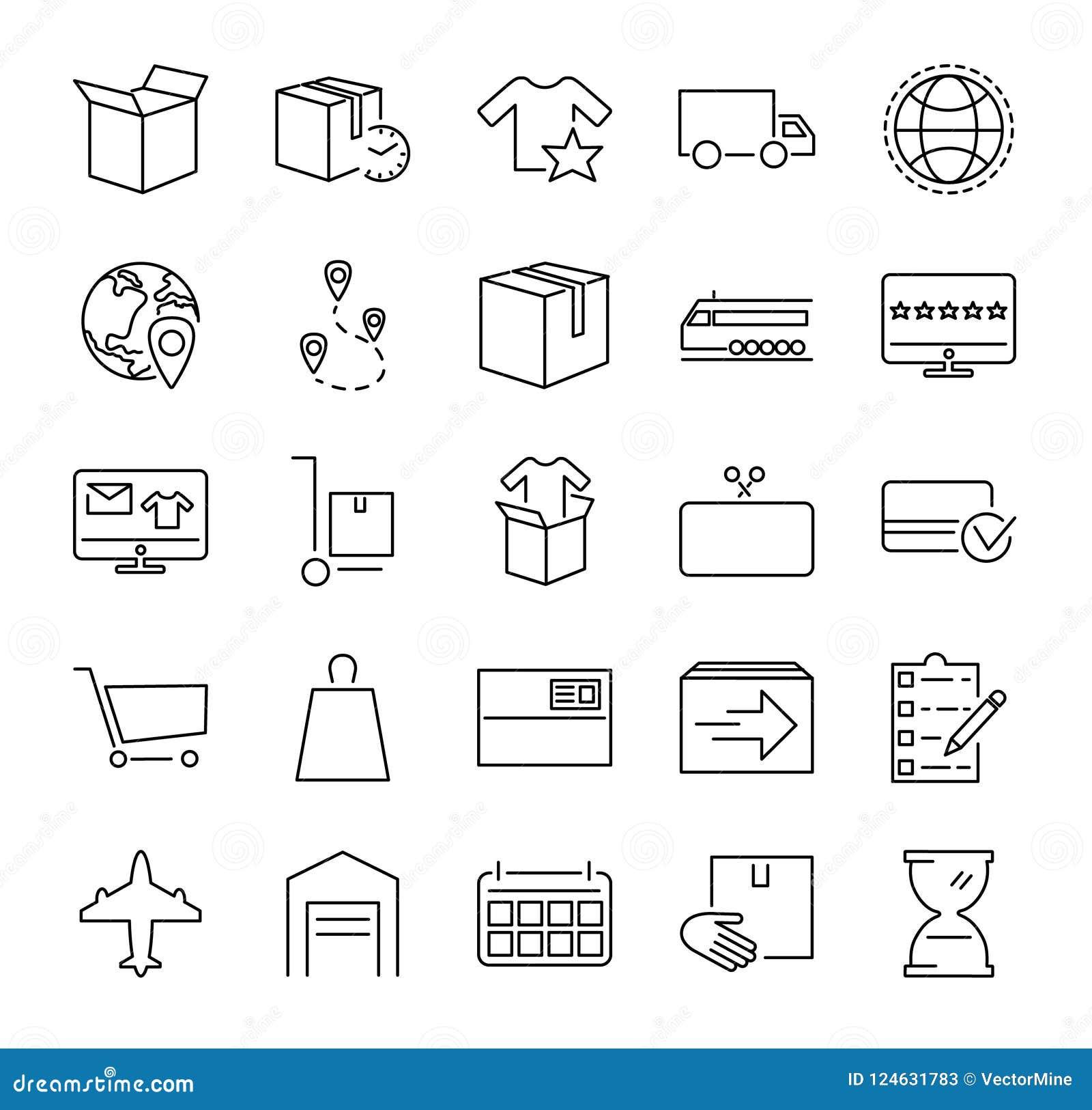 Coleção do ícone da ilustração do vetor da realização da ordem Pictorgrams esboçados sobre a compra, o serviço de entrega e o emp