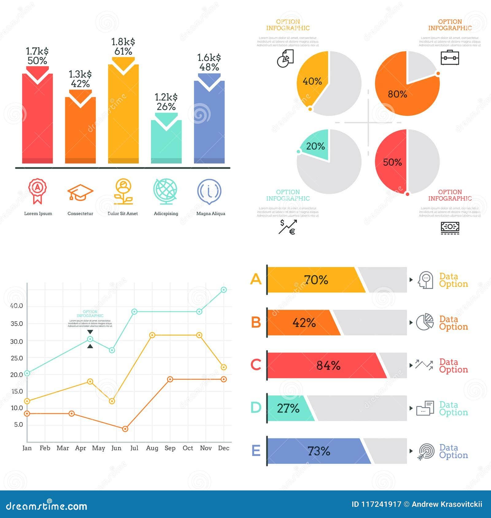 Coleção do diagrama, da barra e gráfico linear coloridos lisos, elementos da carta de torta Conceito do visualização dos dados es
