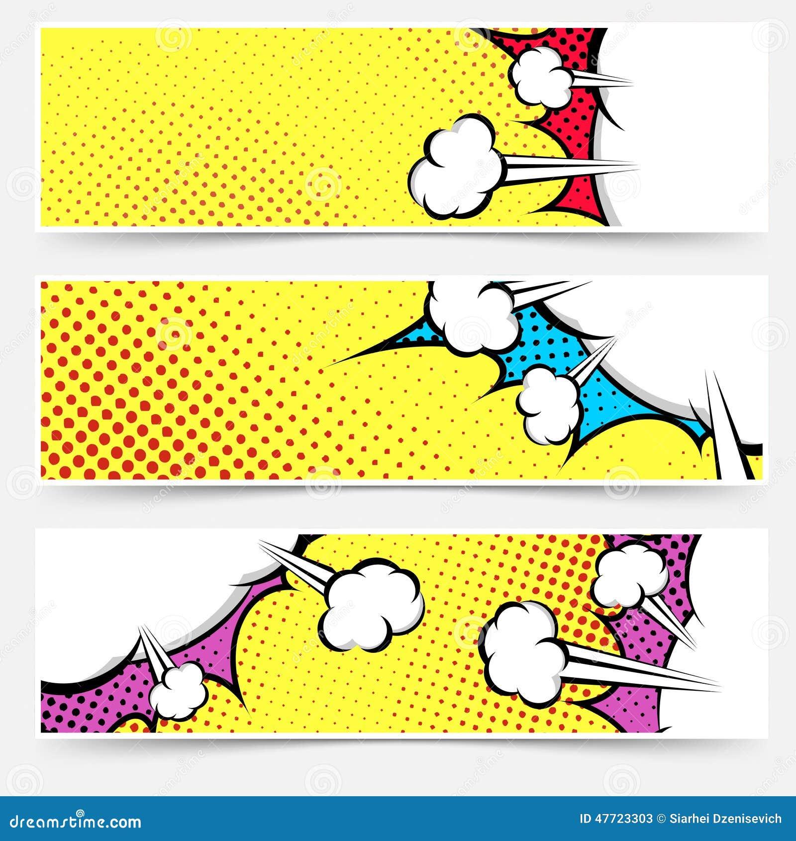 Coleção do encabeçamento do amarelo da banda desenhada do pop art