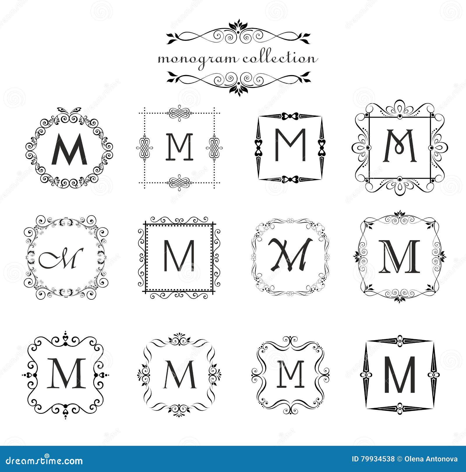 Coleção do monograma do vintage Moldes do logotipo, quadros do preto do vetor do vintage para o cartão do menu, etiqueta do convi
