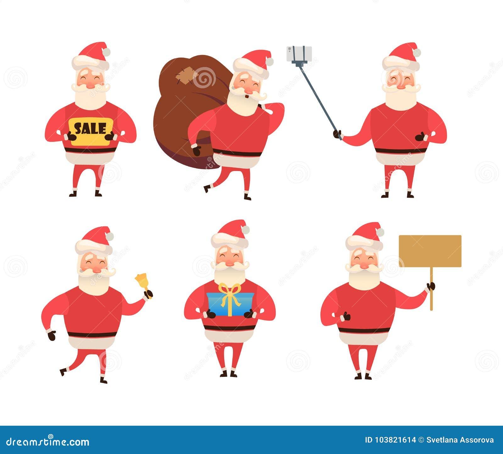 Coleção do Natal Santa Claus Desenhos animados e estilo liso Ilustração do vetor Fundo branco para seu design web