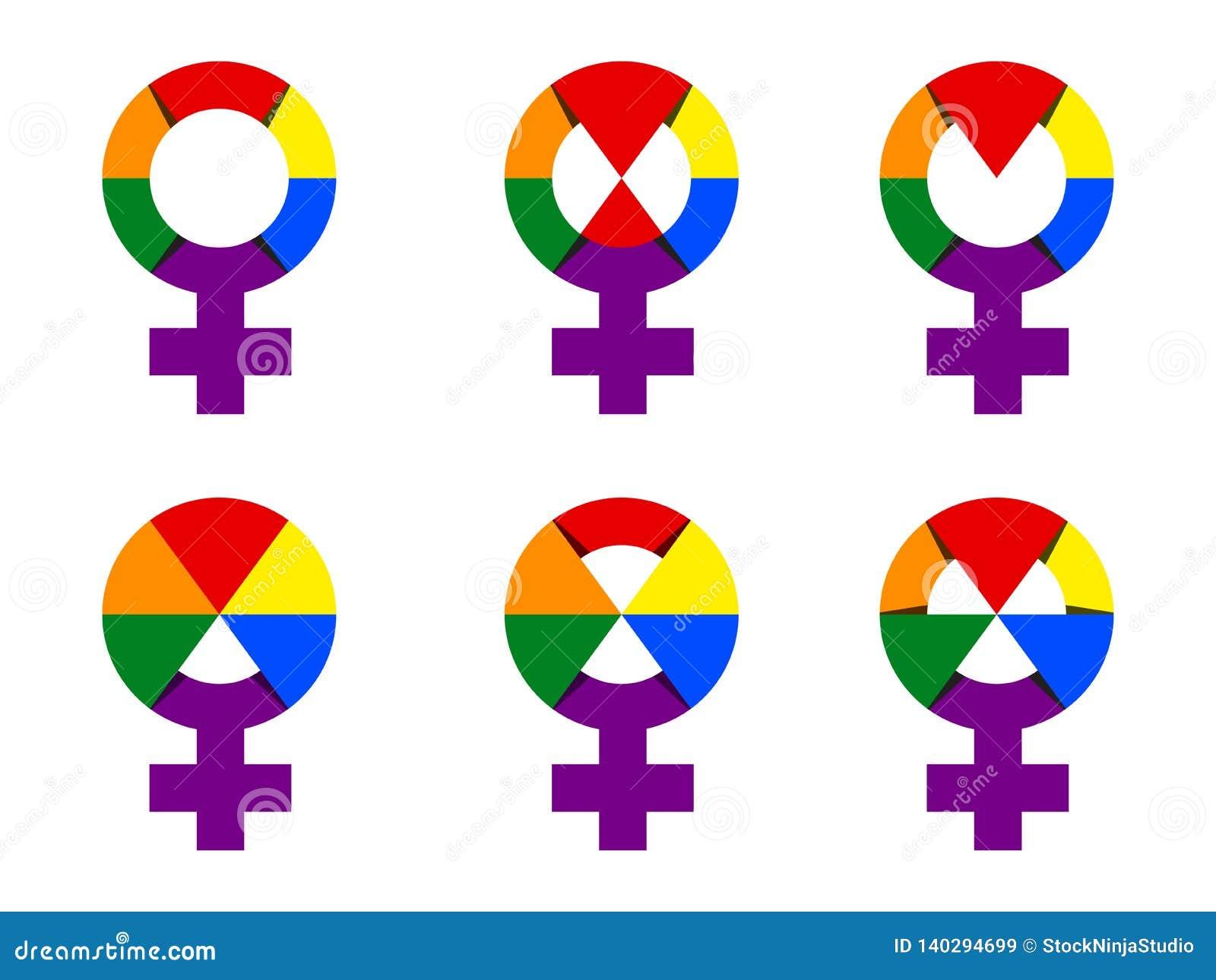 Coleção do símbolo da mulher na ilustração de cor do arco-íris Sinal do gênero da mulher do grupo do vetor