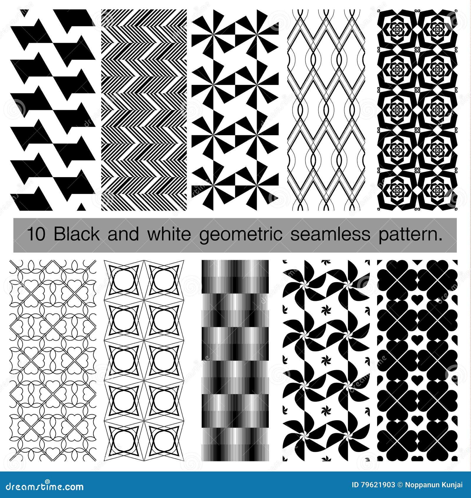 Coleção do teste padrão sem emenda geométrico preto e branco