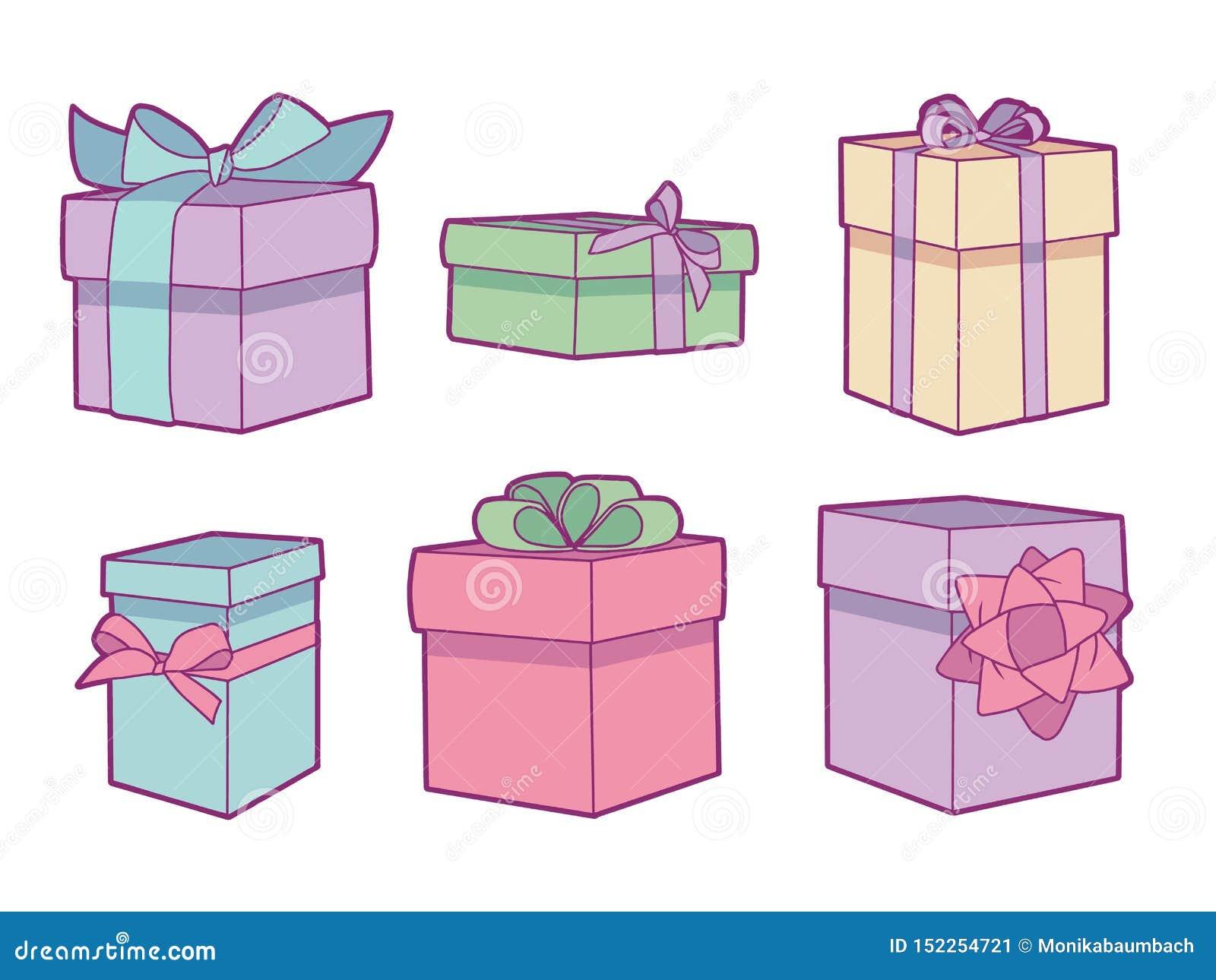 Coleção do vetor ajustada com as caixas de presente coloridas pasteis diferentes do aniversário