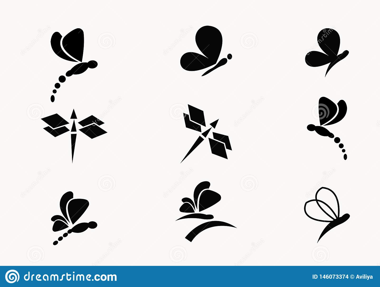 Coleção 6 do vetor preto das borboletas e das libélulas