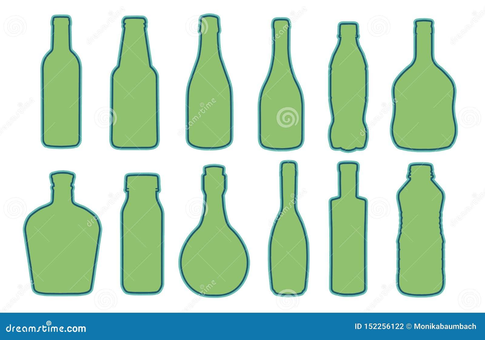 Coleção do vetor do vidro dado forma diferente ou de silhuetas plásticas da garrafa