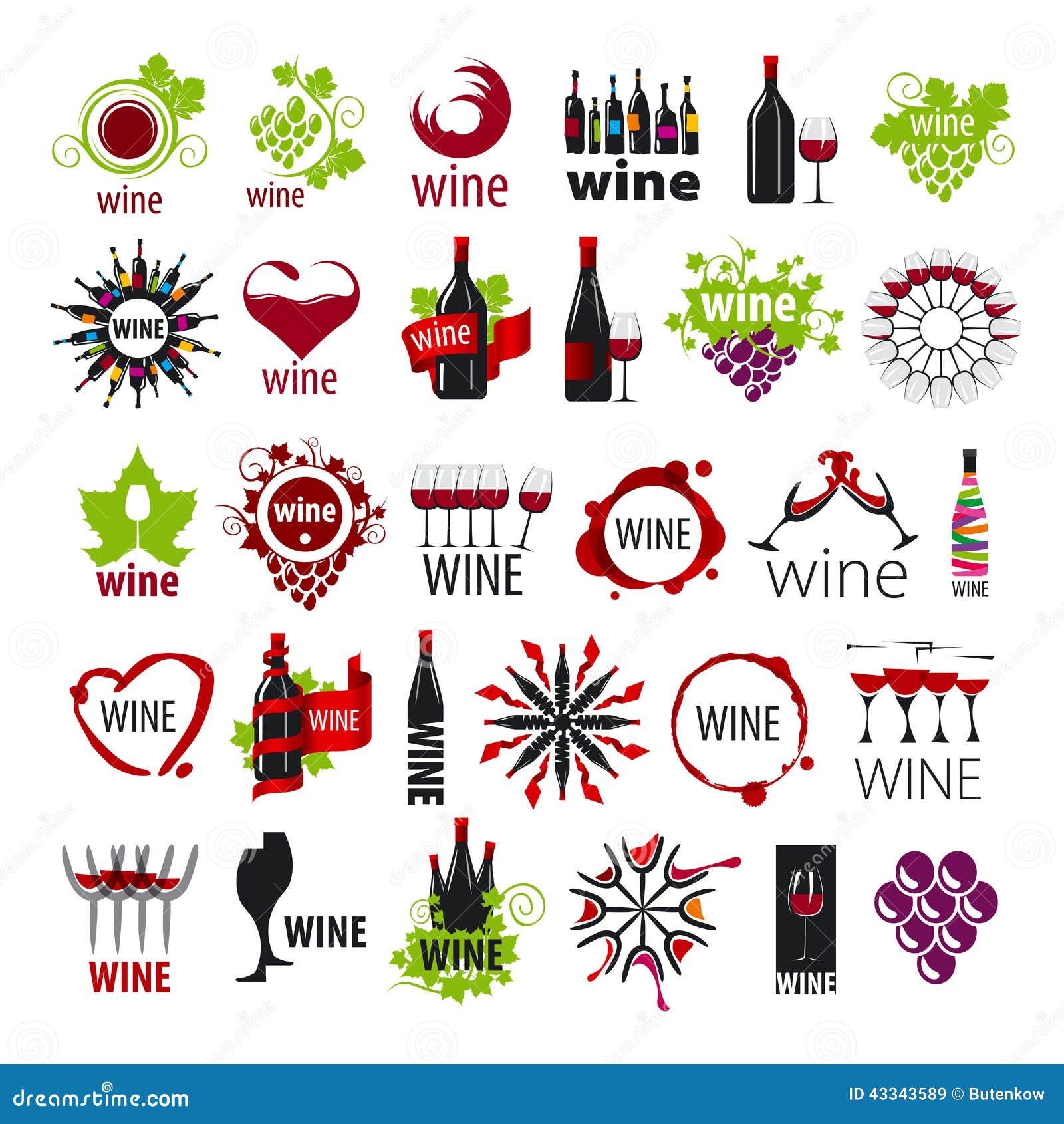 Coleção do vinho dos logotipos do vetor