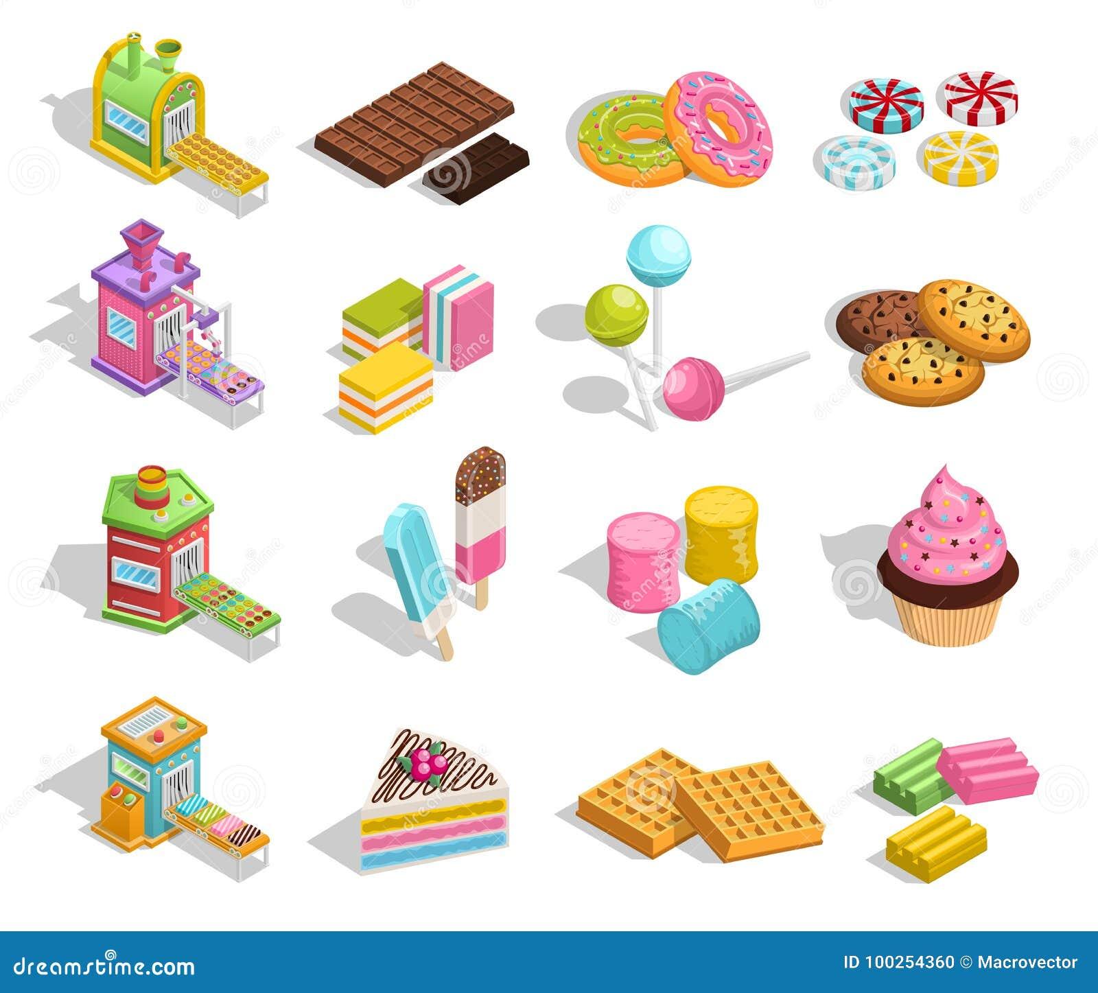 Coleção doce da pastelaria dos bens