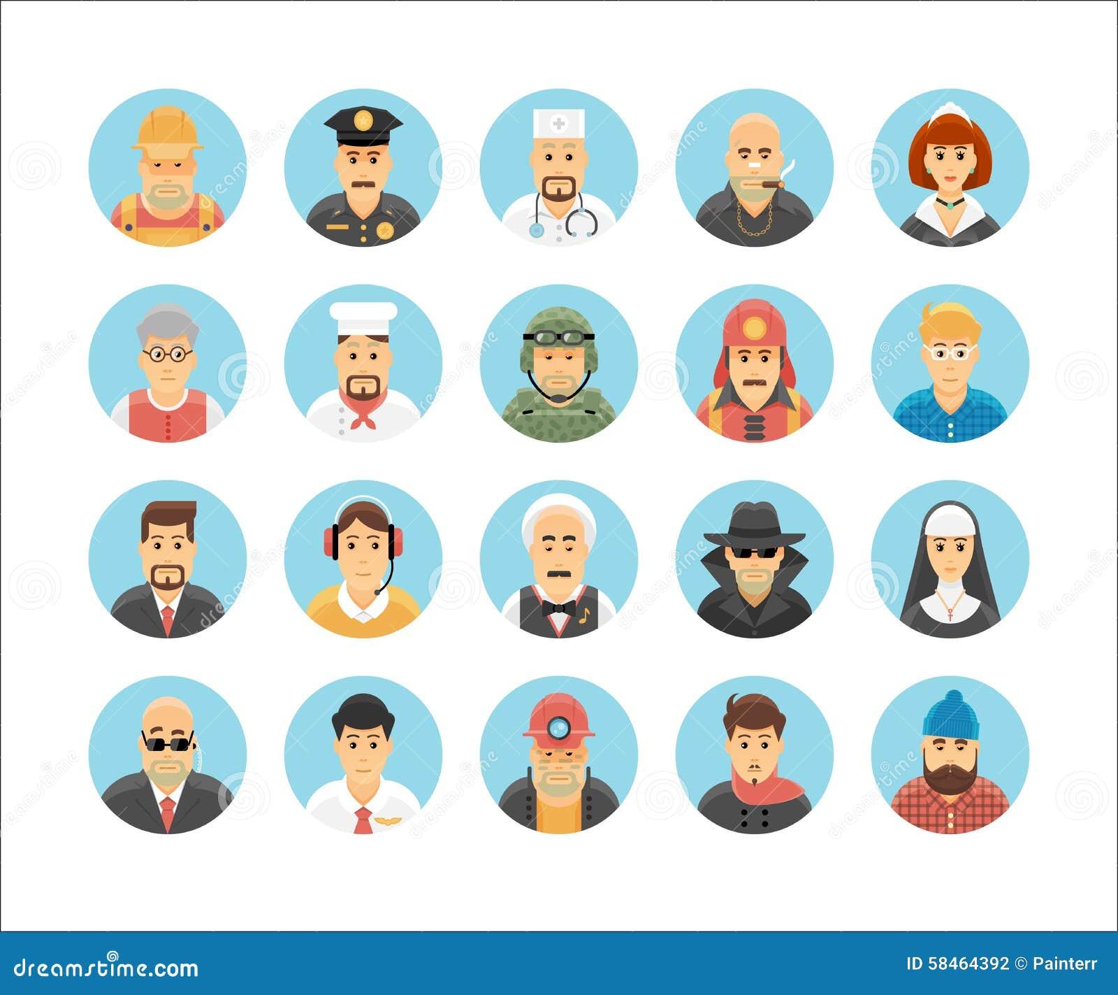 Coleção dos ícones das pessoas Os ícones do caráter ajustaram a ilustração de ocupações, de estilos de vida, de nações e de cultu
