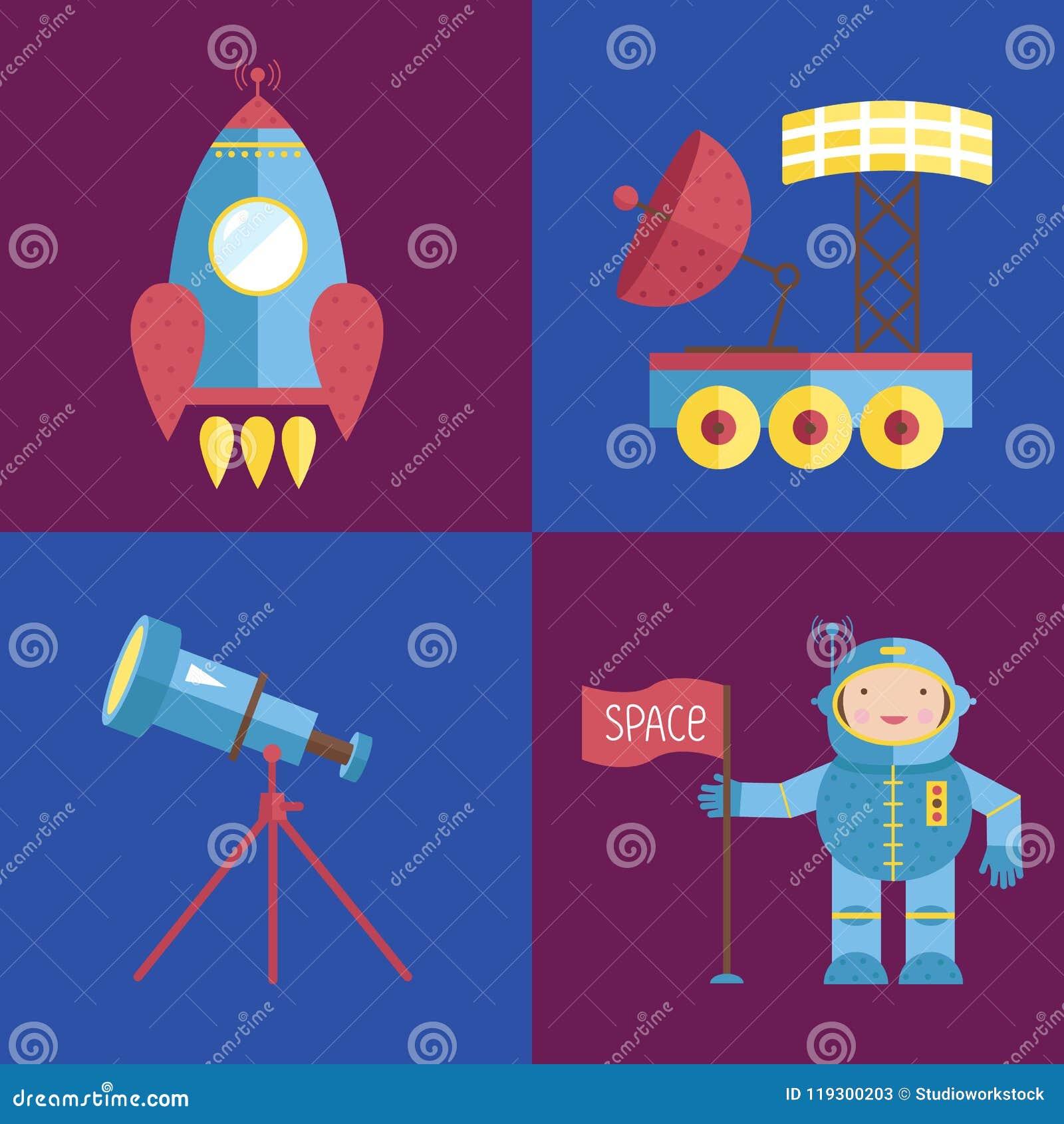 Coleção dos ícones dos desenhos animados do espaço