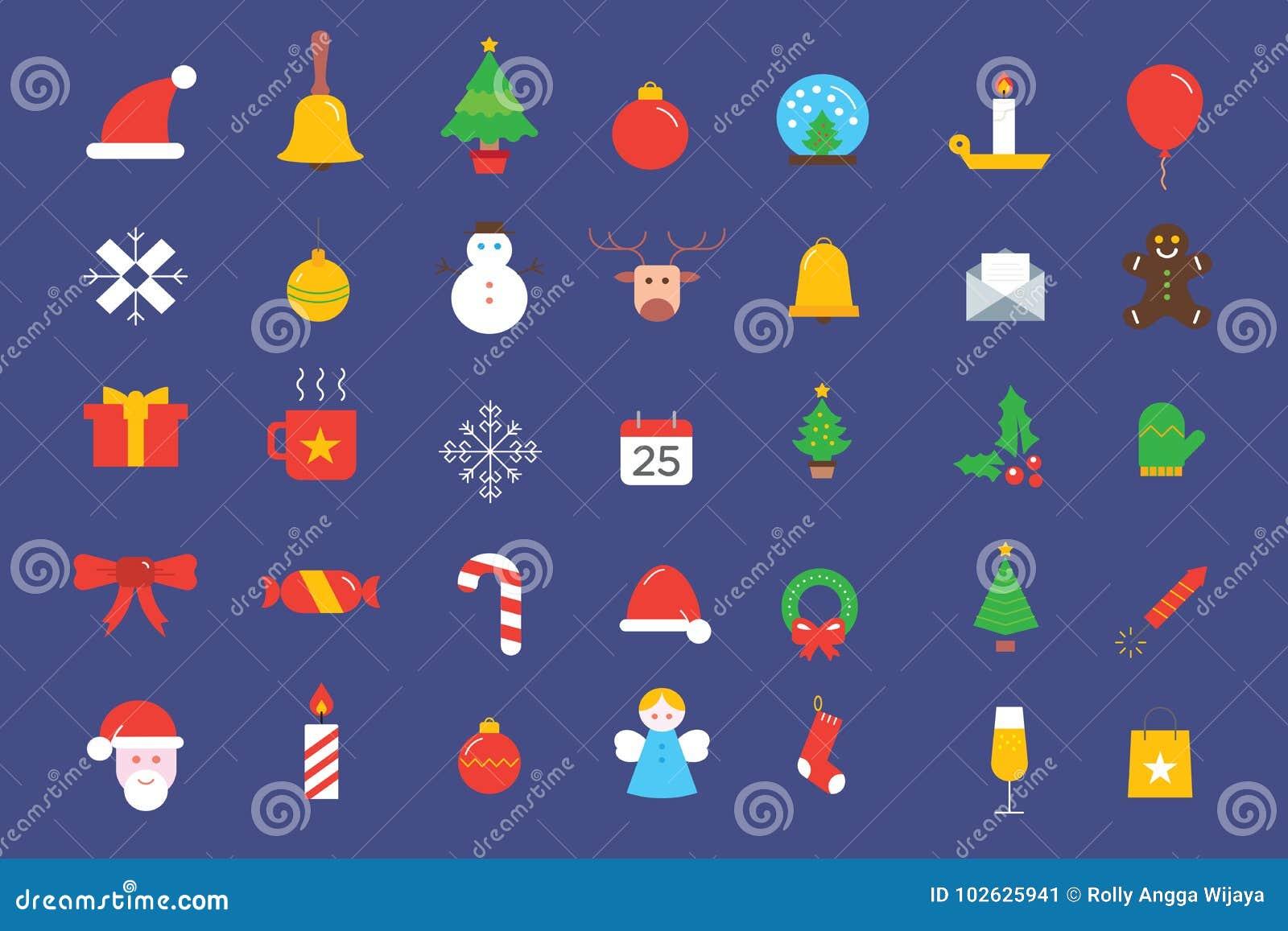 Coleção dos ícones dos elementos do Natal