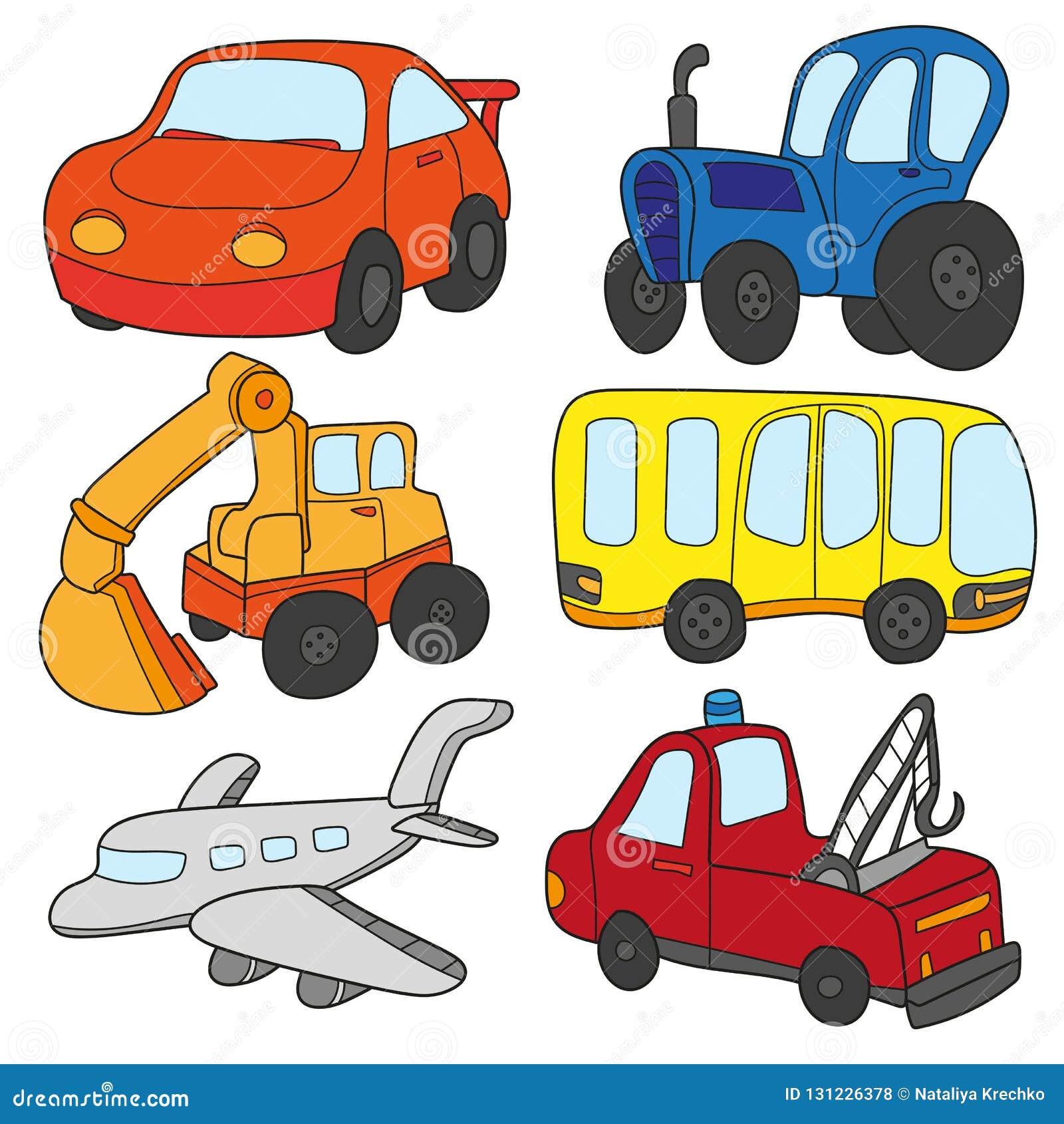 Colecao Dos Carros Dos Desenhos Animados Vetor Do Tema Do