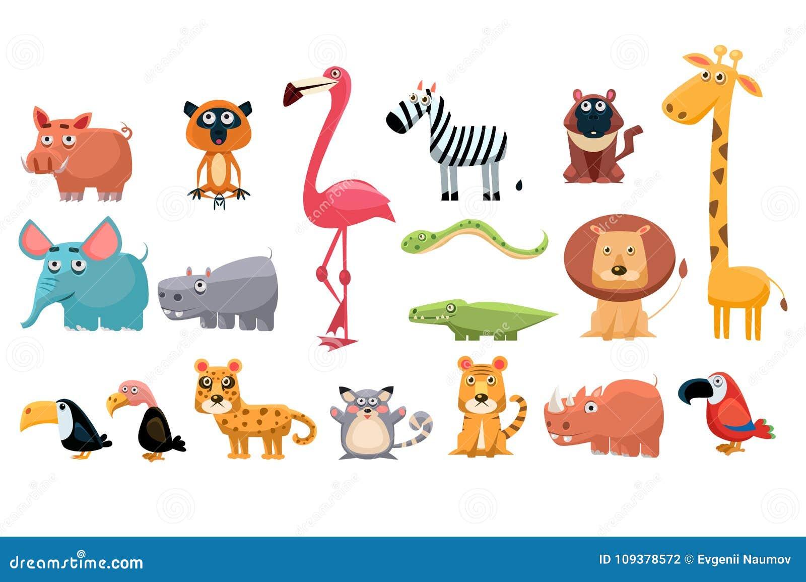 Coleção dos desenhos animados de animais engraçados Os elementos coloridos para as crianças s registram, cartão da educação, jogo
