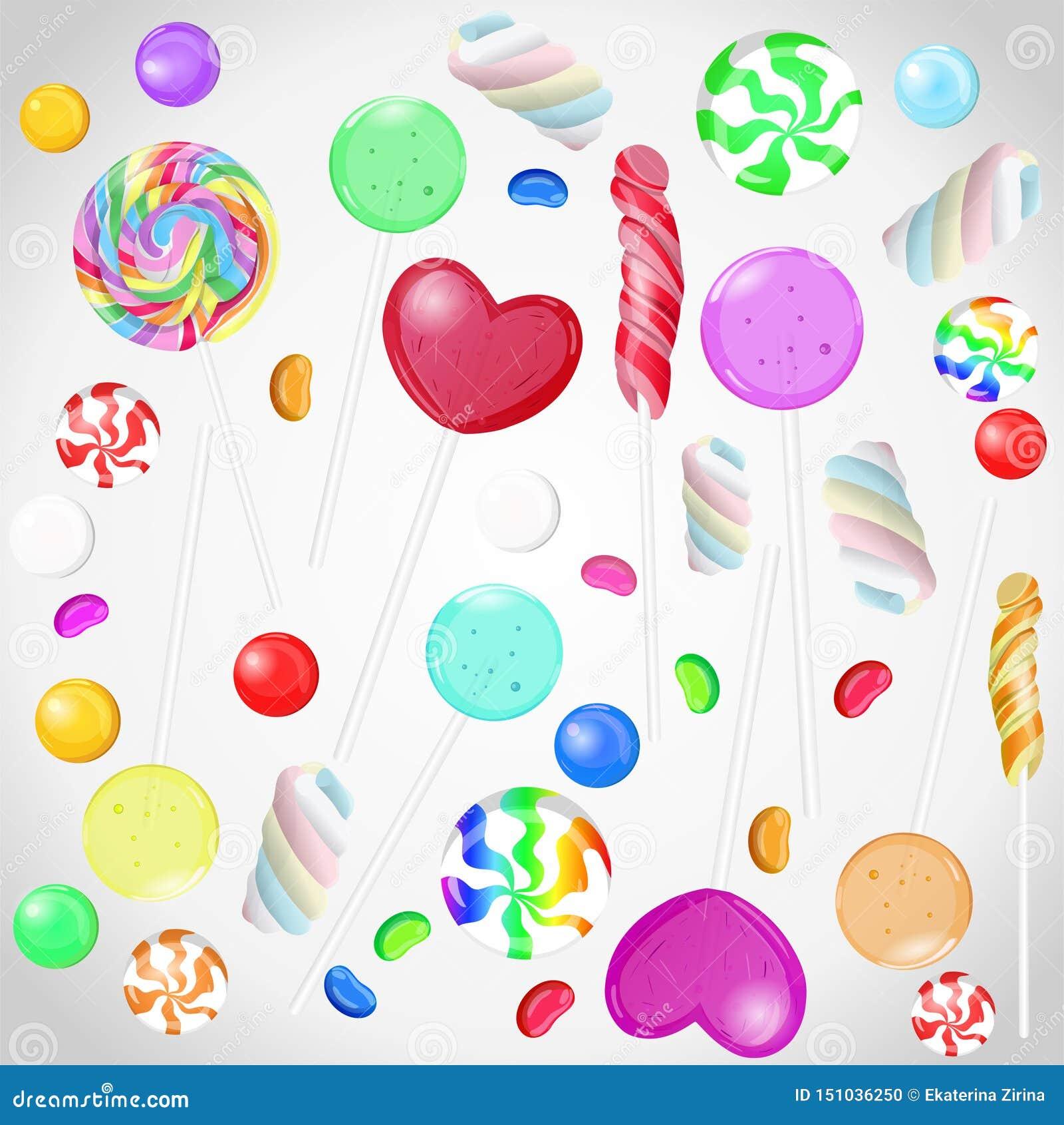 Coleção dos doces no fundo isolado branco Grupo do vetor de candys