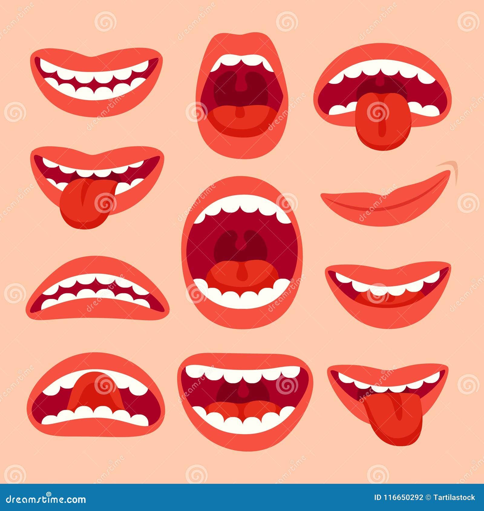 coleção dos elementos da boca dos desenhos animados mostre a língua