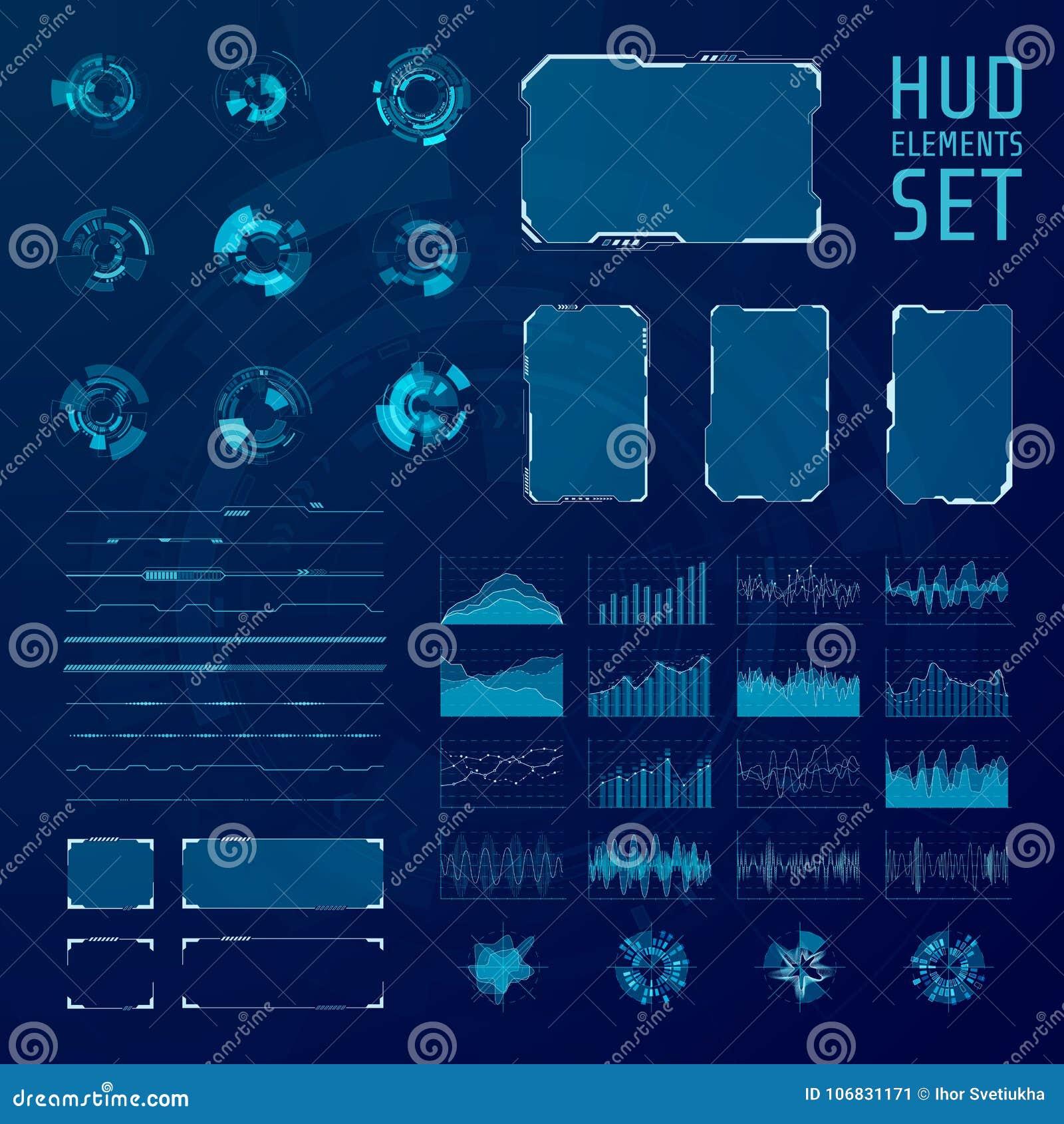 Coleção dos elementos de HUD Grupo de pannels futuristas abstratos gráficos do hud Ilustração do vetor