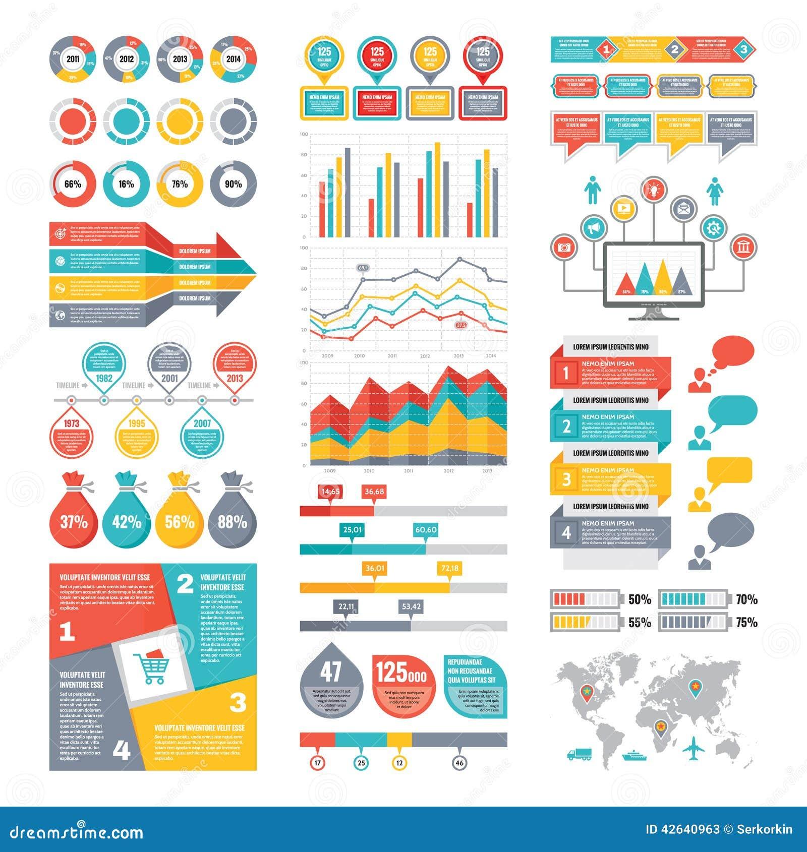 Coleção dos elementos de Infographic - ilustração do vetor do negócio no estilo liso do projeto