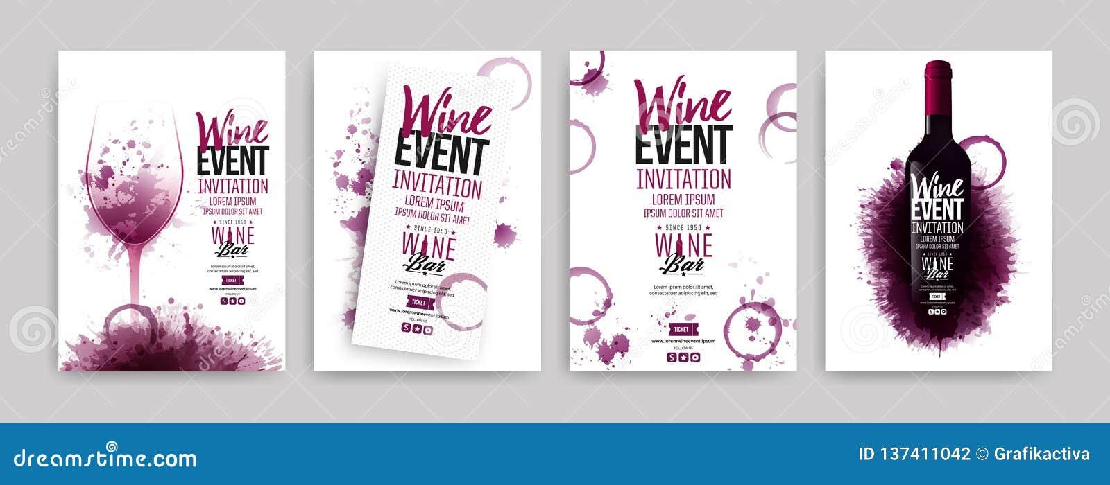 Coleção dos moldes com projetos do vinho Folhetos, cartazes, cartões do convite, bandeiras da promoção, menus O vinho mancha o fu