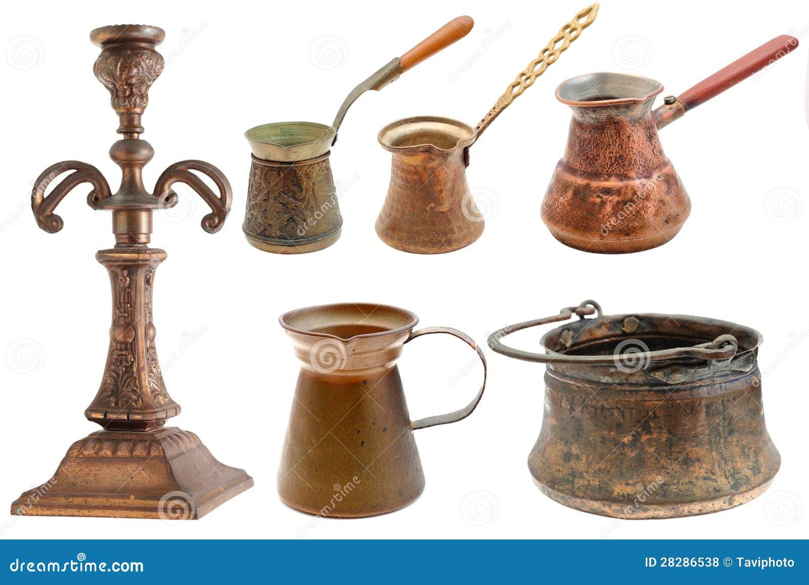 Coleção dos objetos de bronze