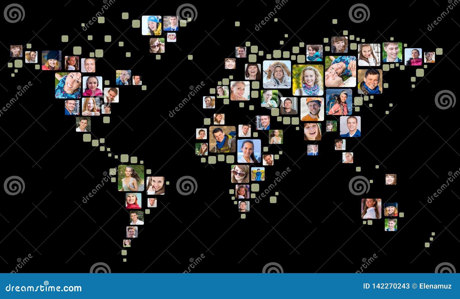 Coleção dos retratos dos povos colocados como a forma do mapa do mundo Conceito do negócio global