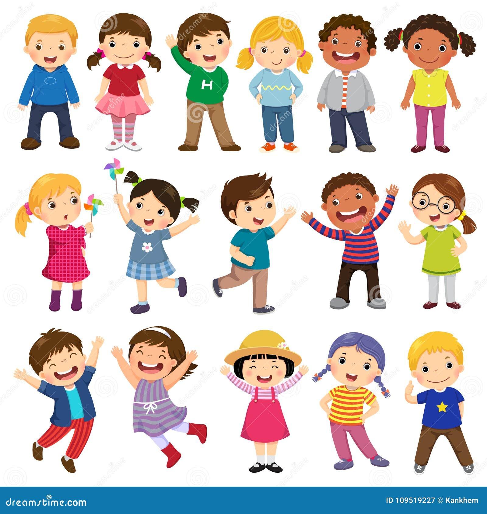 Coleção feliz dos desenhos animados das crianças Crianças multiculturais no differe