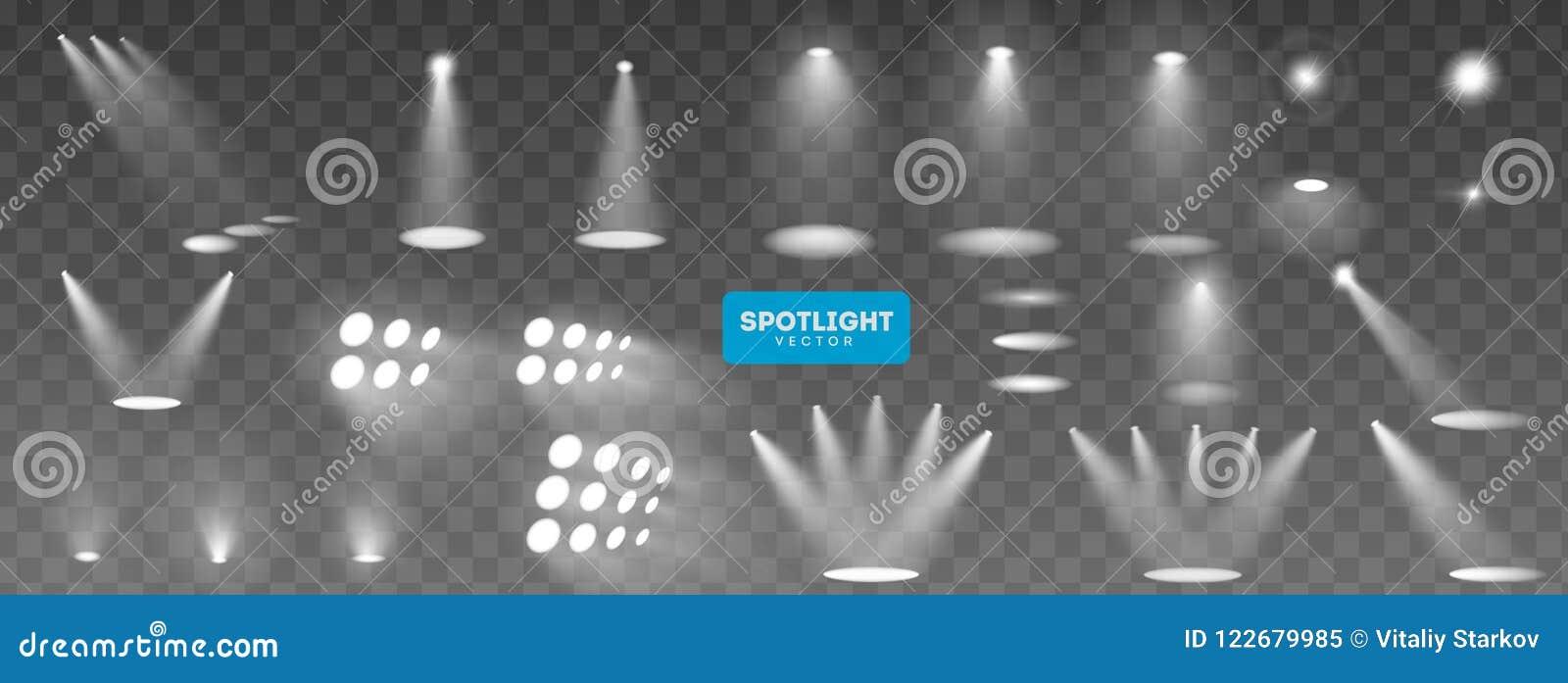 Coleção grande da iluminação da cena, efeitos transparentes Iluminação brilhante com projetores Ilustração do vetor