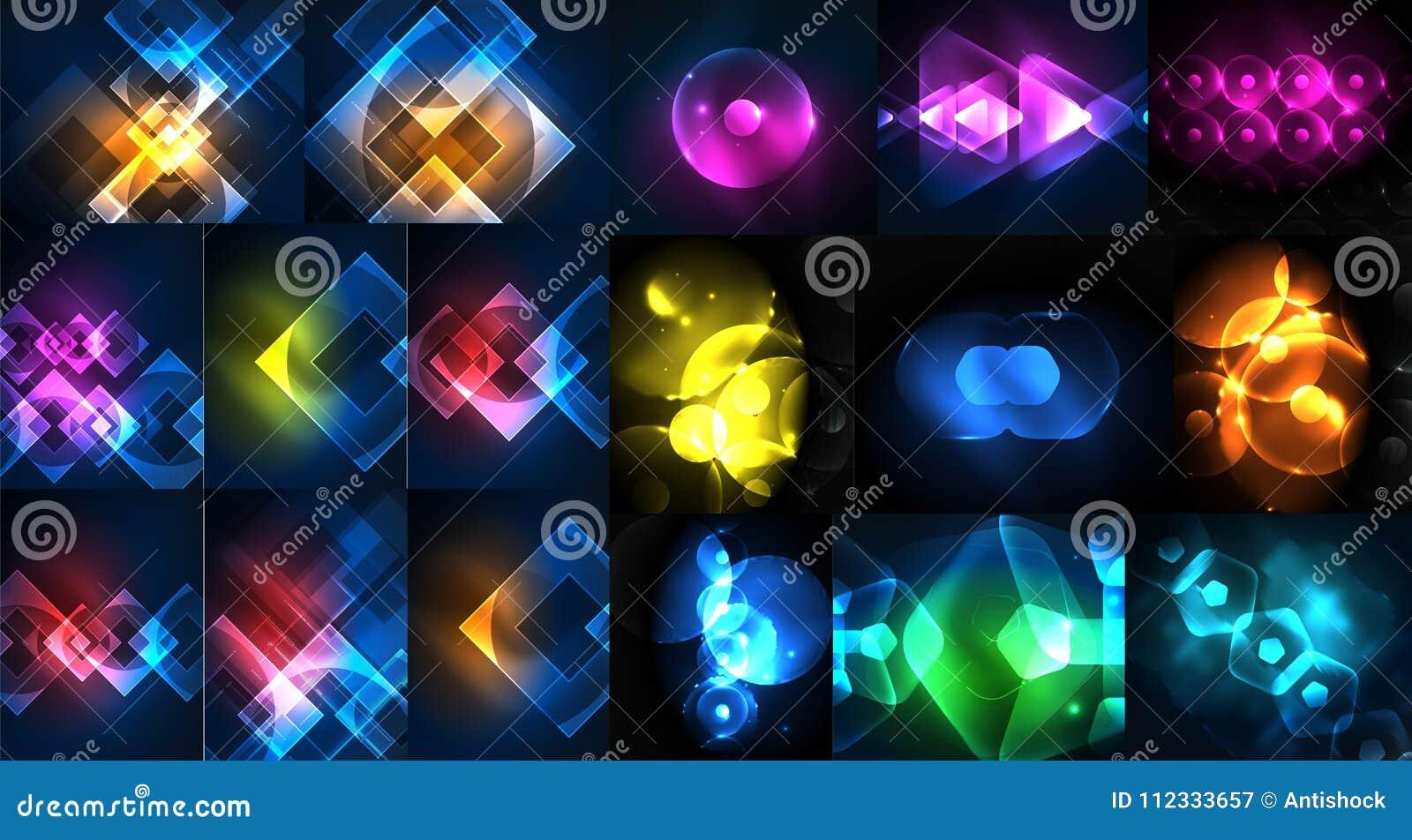 Coleção mega dos fundos abstratos de néon da forma, de moldes de incandescência fantásticos mágicos para a Web ou de techno digit