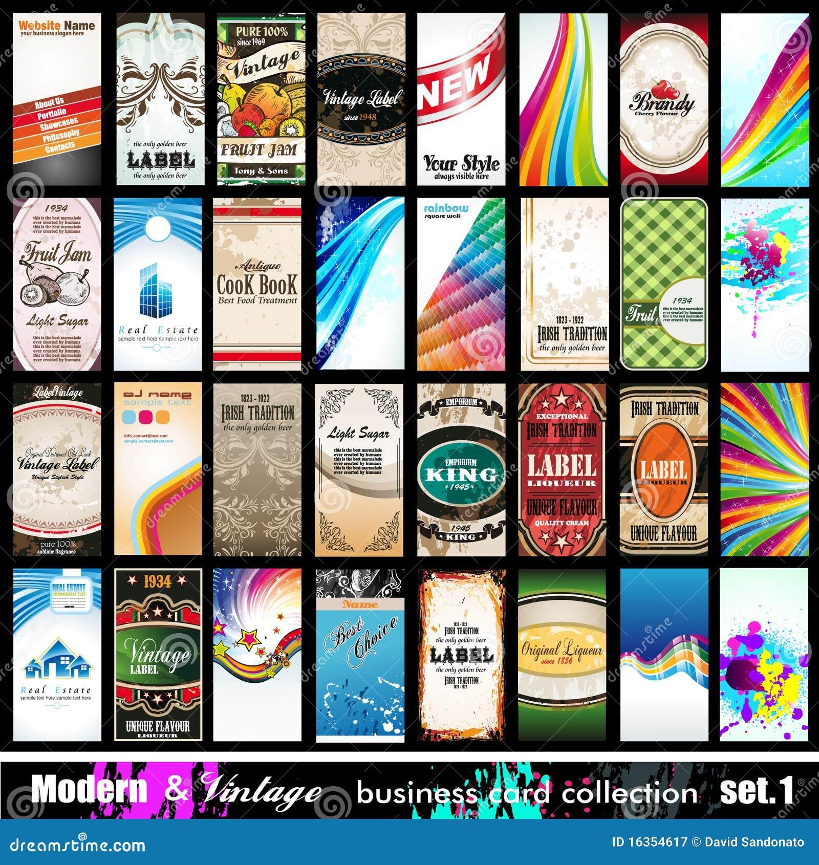 Coleção moderna & do vintage do cartão - jogo 1