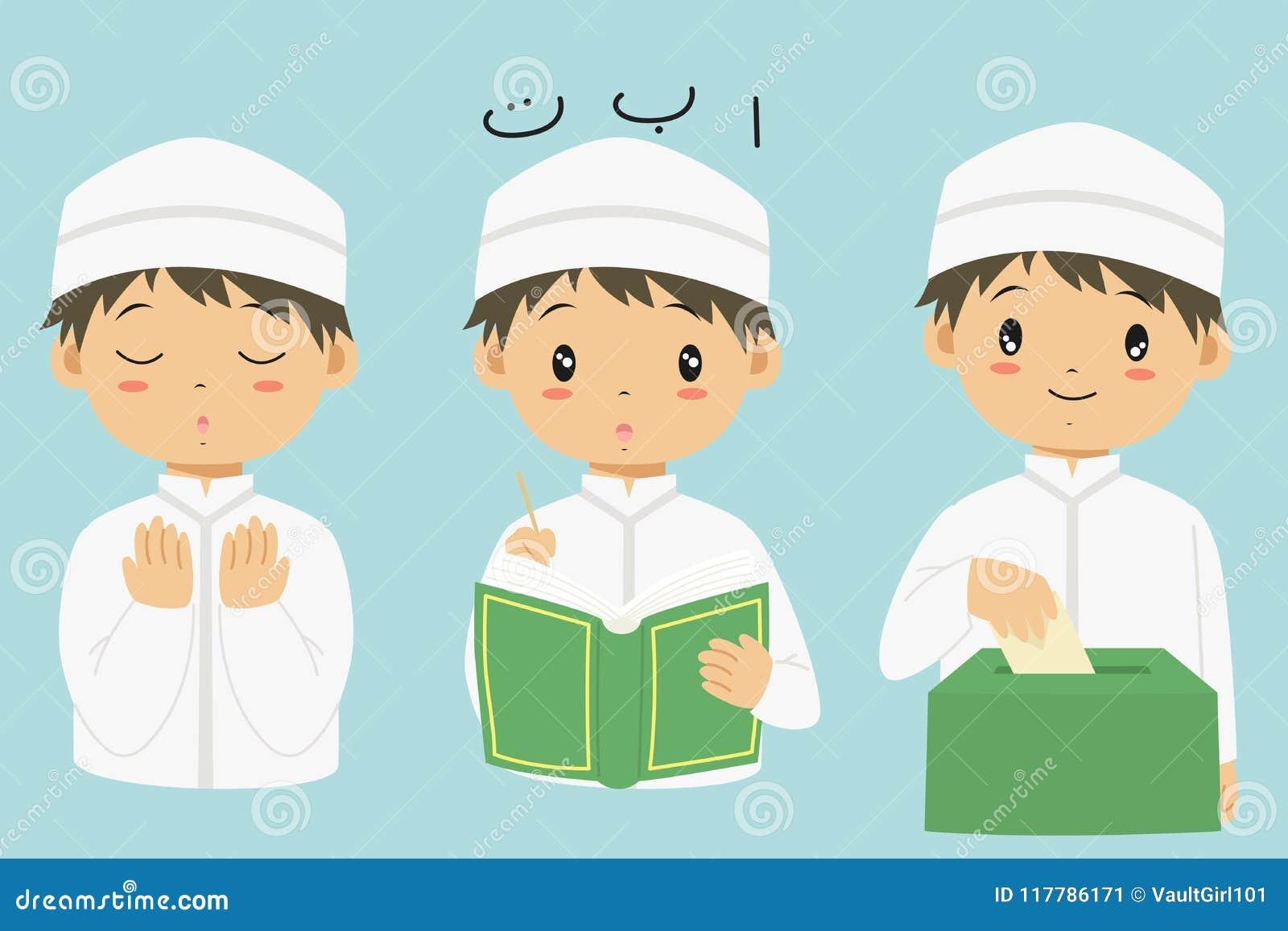 Coleção muçulmana do vetor dos desenhos animados do menino