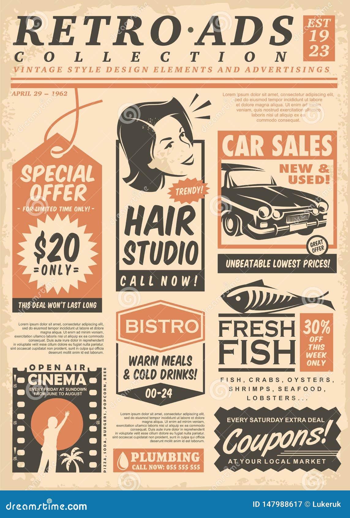 Coleção retro dos anúncios de jornal