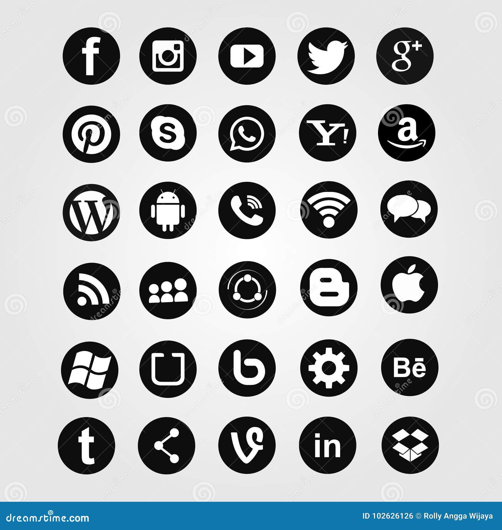 Coleção social dos ícones da rede dos meios