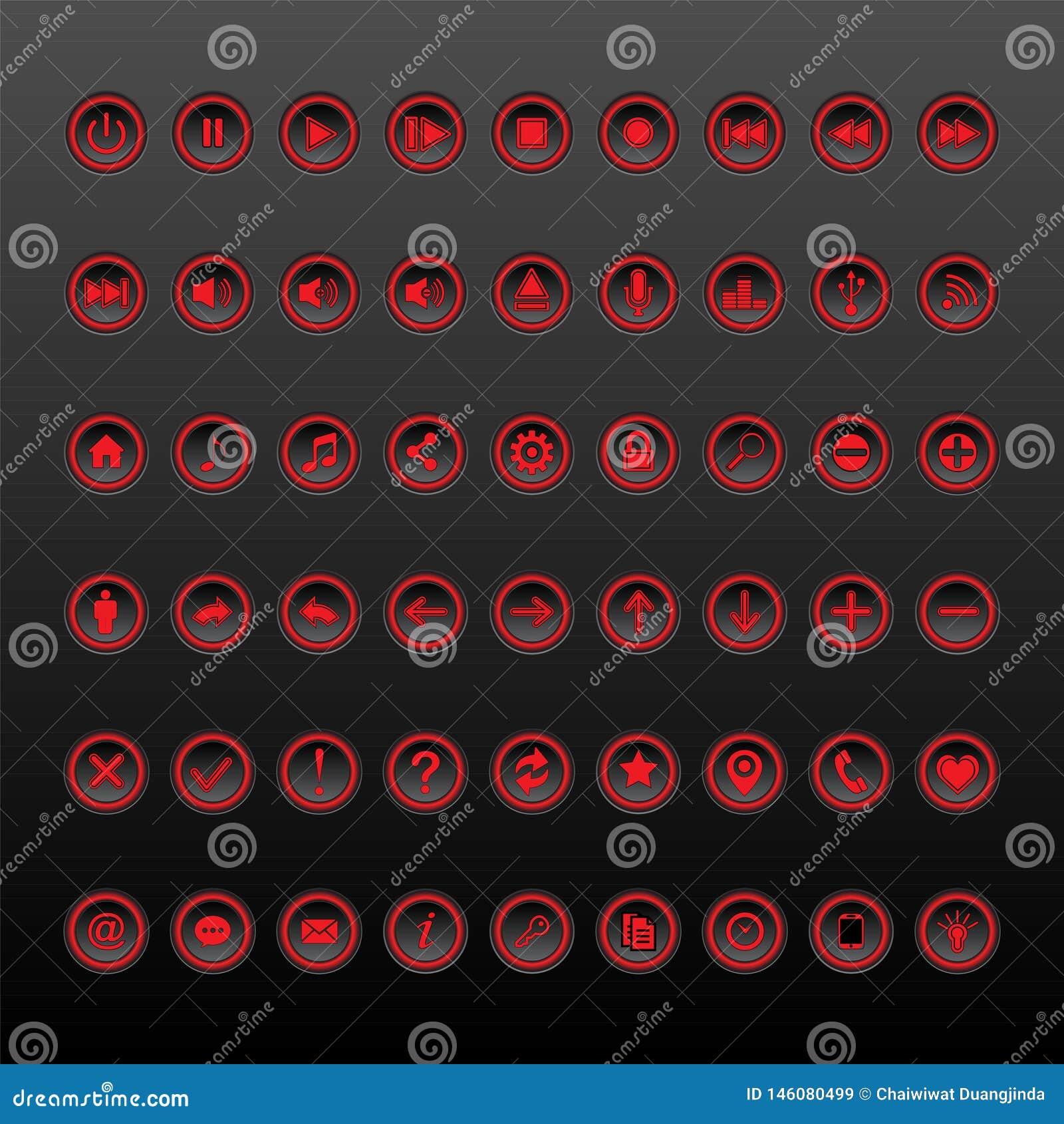 Coleção vermelha e preta do grupo do botão