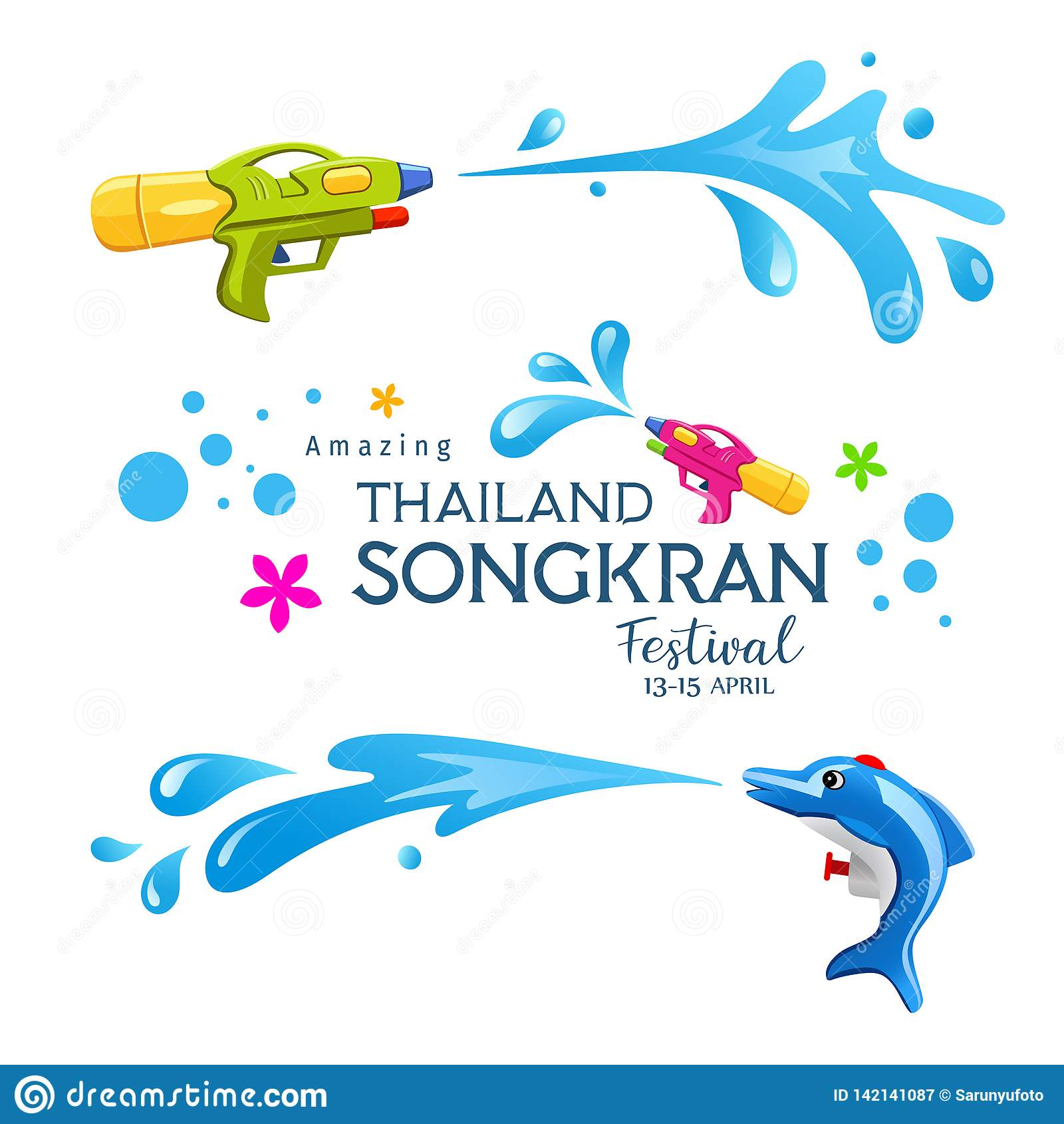 Coleções coloridas do respingo da arma e da água do festival surpreendente feliz de Songkran Tailândia