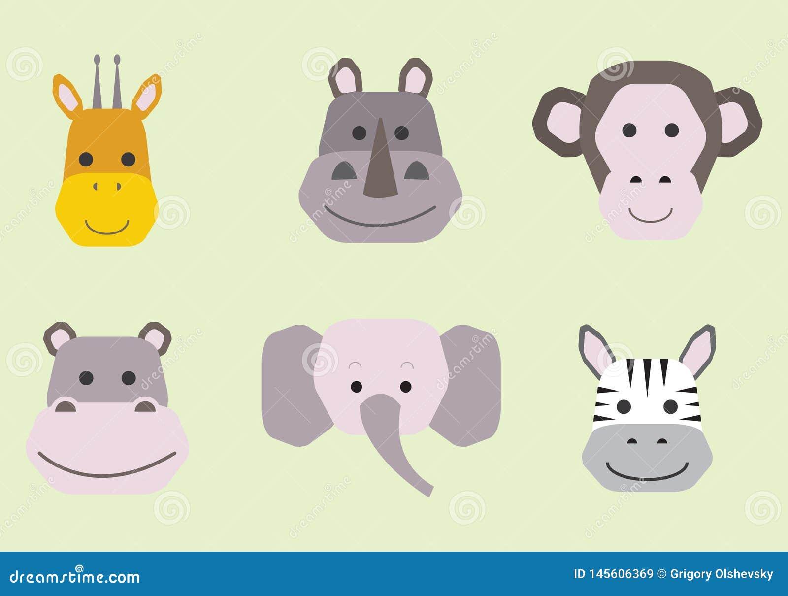 Cole??o das caras animais bonitos, grupo do vetor do ?cone para o projeto do beb?