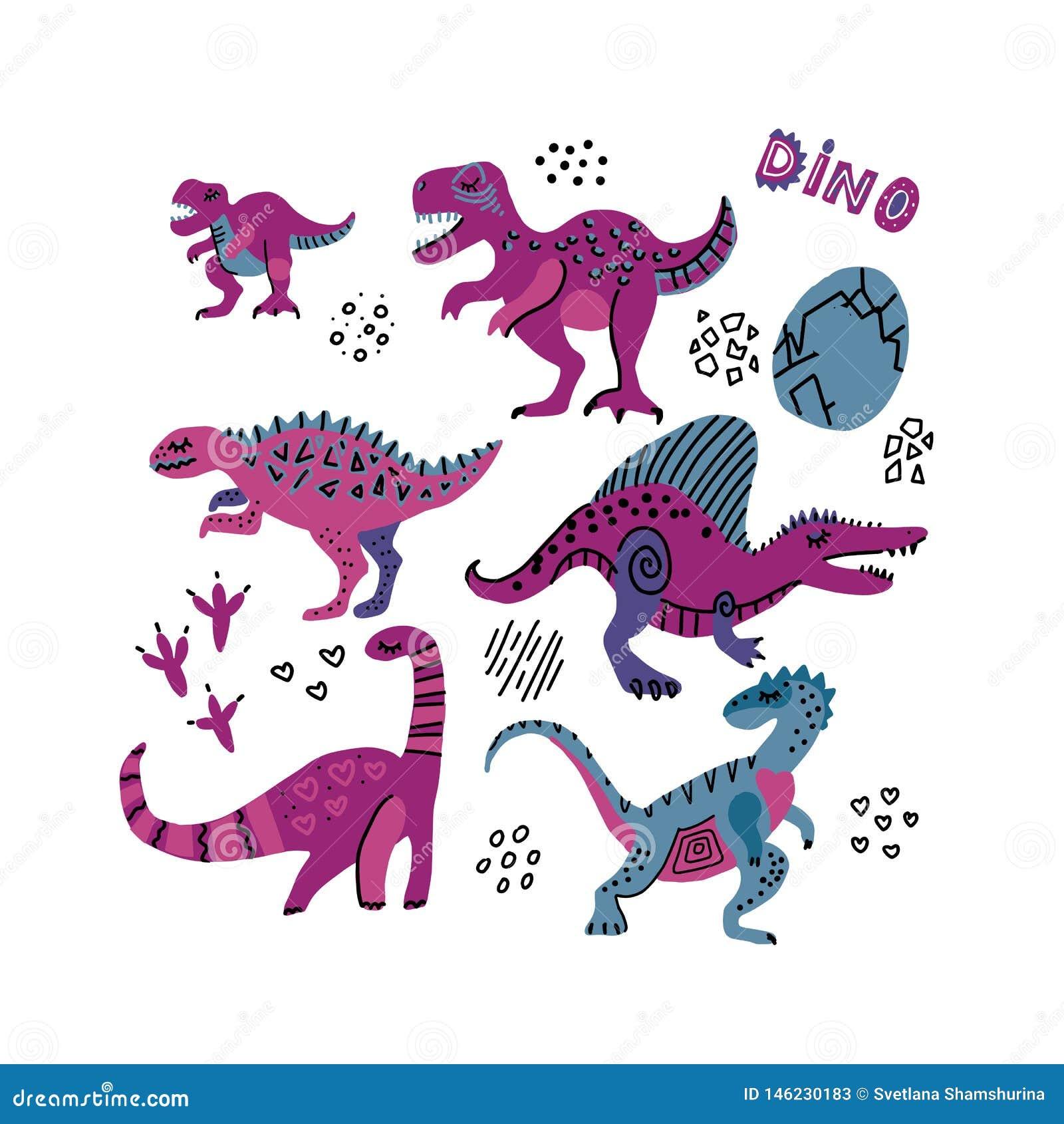 Cole??o engra?ada dos dinossauros Caráteres criançolas bonitos em cores roxas Dino tirado 6 mãos com ovos Os dinossauros ajustara