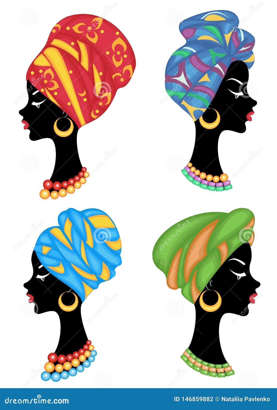Cole??o Perfil de uma senhora doce Na cabe?a de uma menina afro-americano ? um xaile feito malha, um turbante A mulher ? bonita