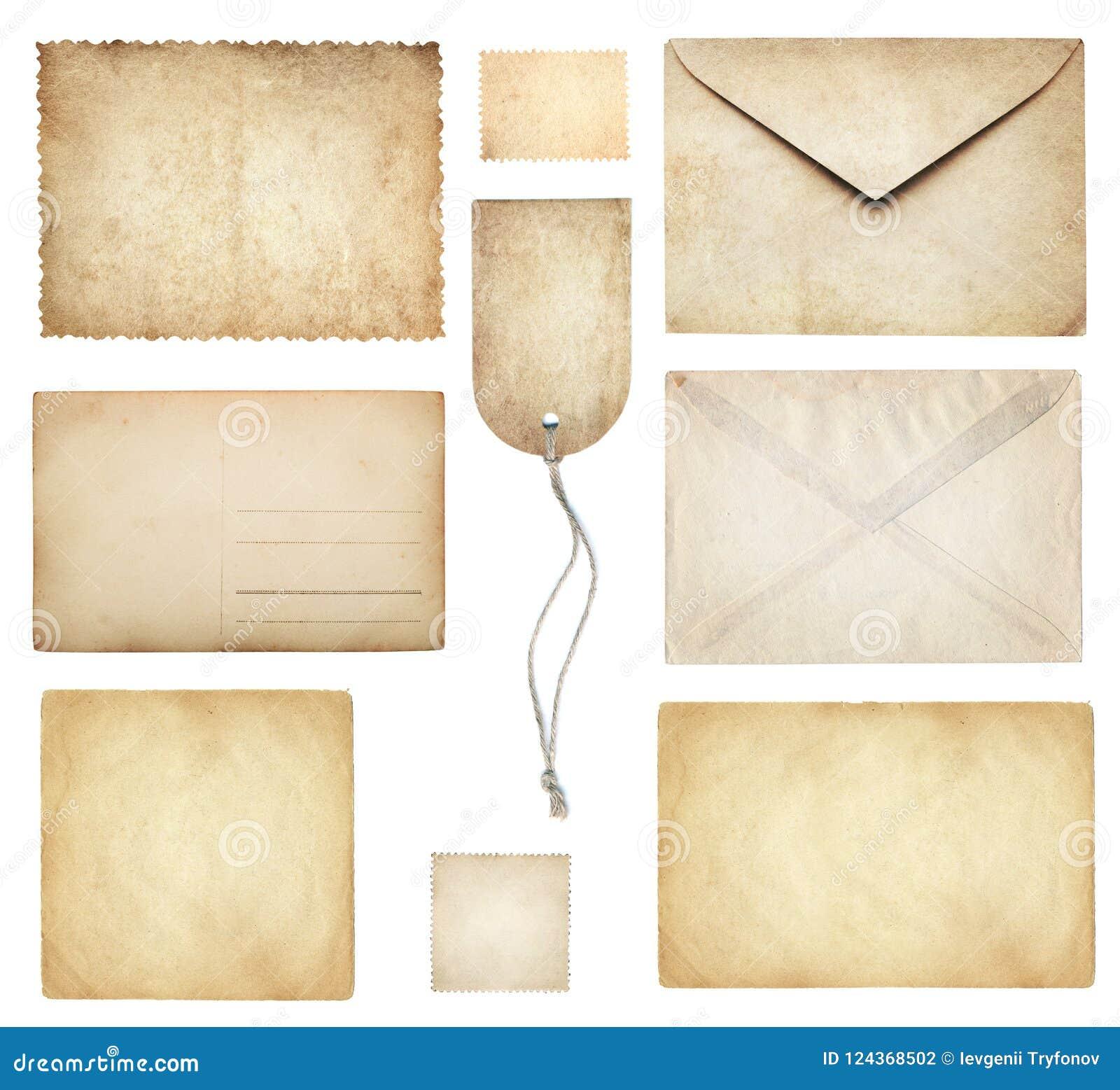 Colección antigua de los papeles: papel con membrete, sobre, postal, posta