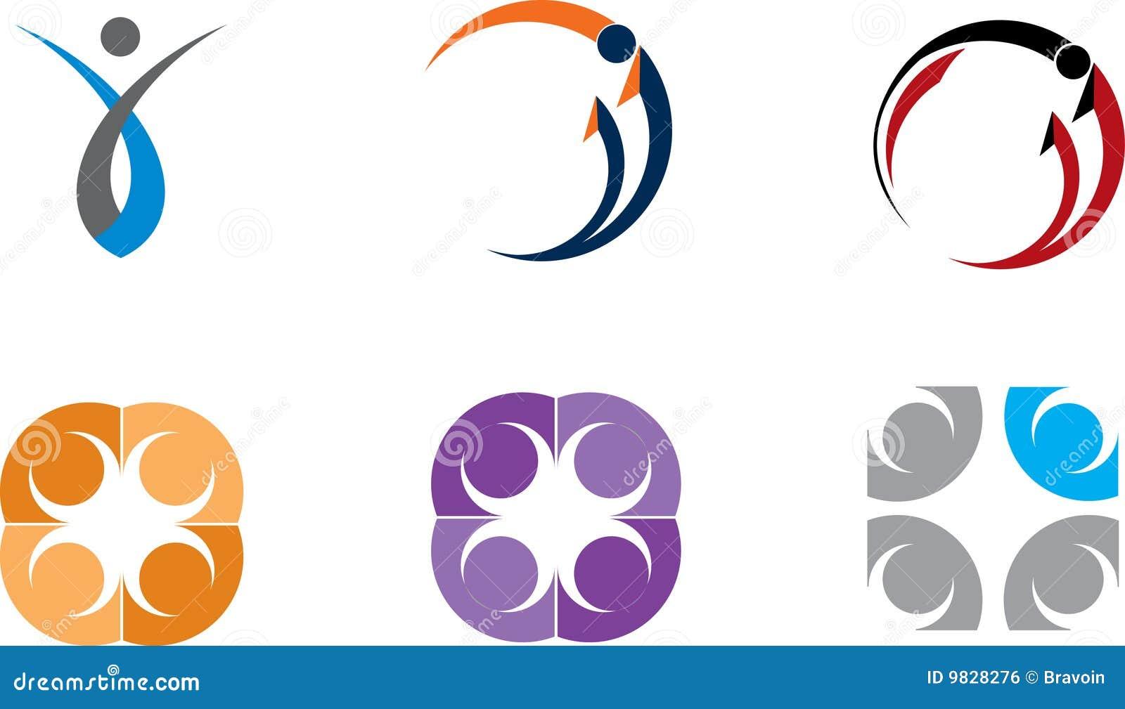 Colección colorida de las insignias