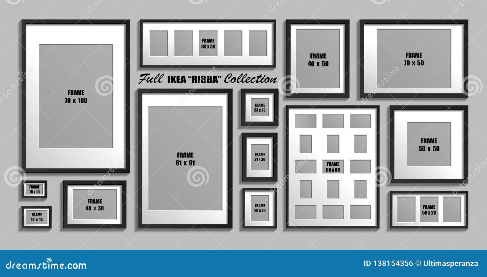 Colección completa de bastidores de la foto de IKEA Ribba Tamaños reales Sistema del vector de marcos negros con el passepartout