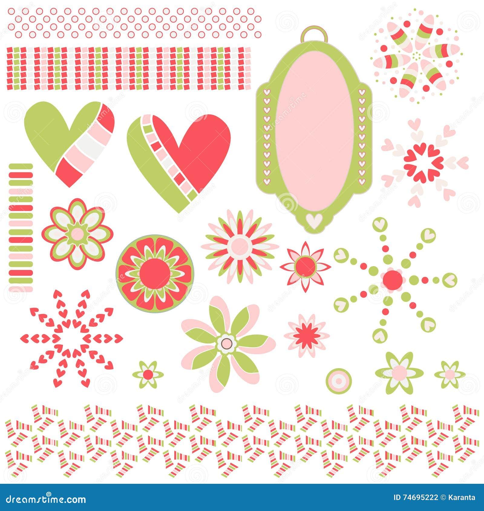 Colección con la etiqueta, los corazones, las flores y los ajustes