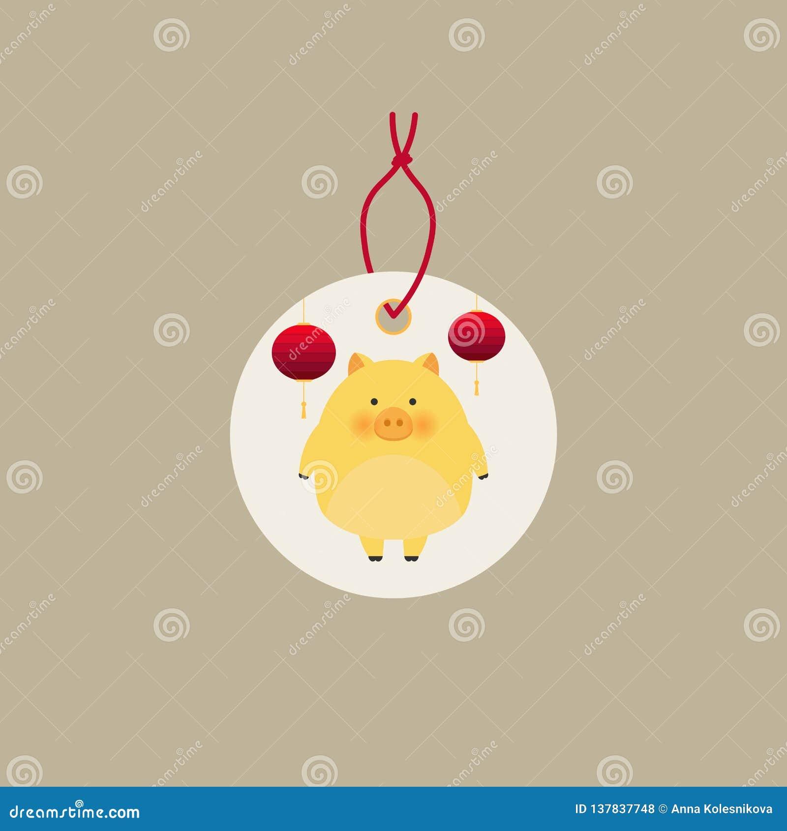 Colección creativa china de las etiquetas del Año Nuevo 2019 Nuevo 2019 años con los cerdos lindos Símbolo del año en el calendar