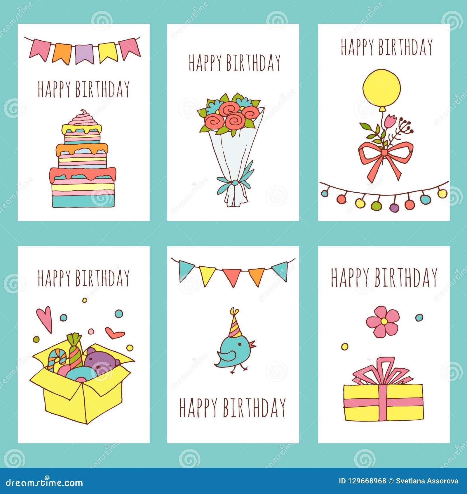 Colección Creativa De Las Tarjetas Del Feliz Cumpleaños
