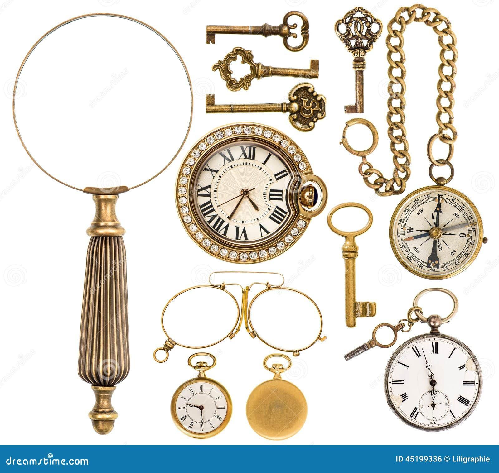 coleccin de accesorios de joyera y de objetos de oro del vintage imagen de archivo