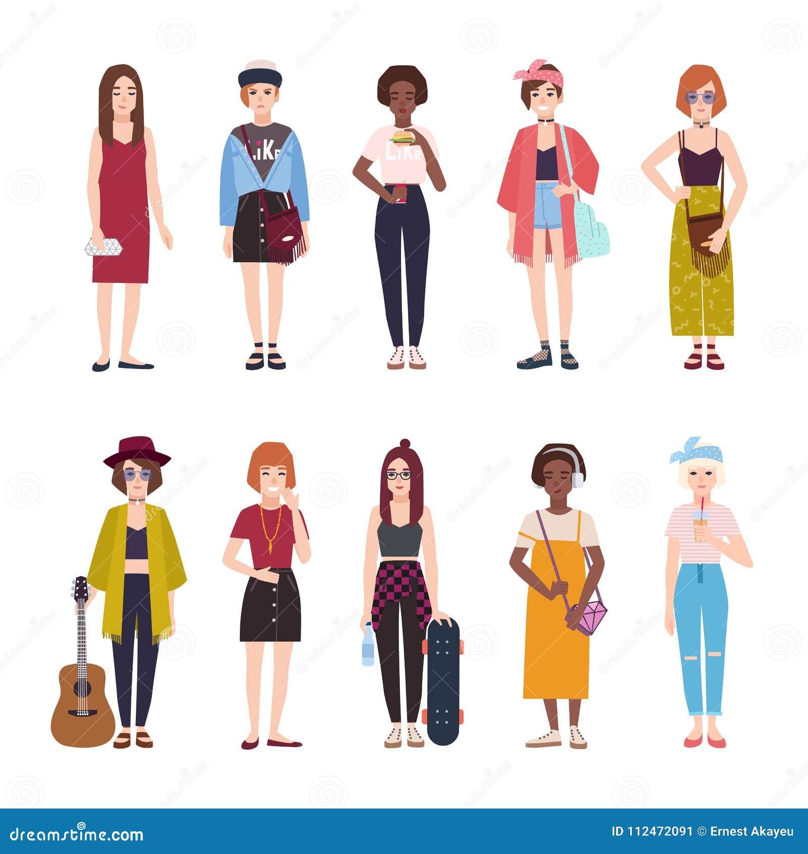 aaa9d25eb Colección de adolescentes vestidos en ropa de moda Sistema de adolescentes  femeninos modernos jovenes en equipos elegantes Personajes de dibujos  animados ...