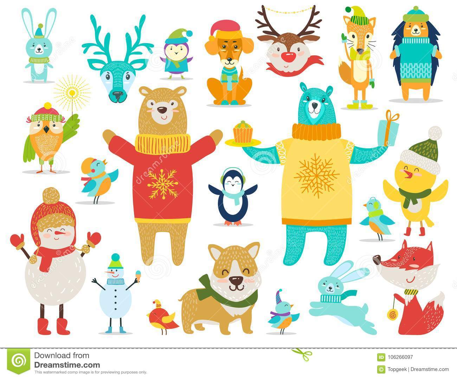 Colección de animales, ejemplo del vector de los muñecos de nieve