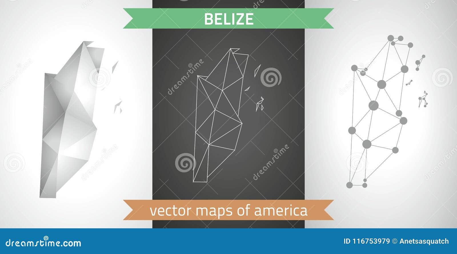Colección de Belice de mapa moderno de los mapas del diseño del vector, gris y negro y de plata del punto del contorno del mosaic
