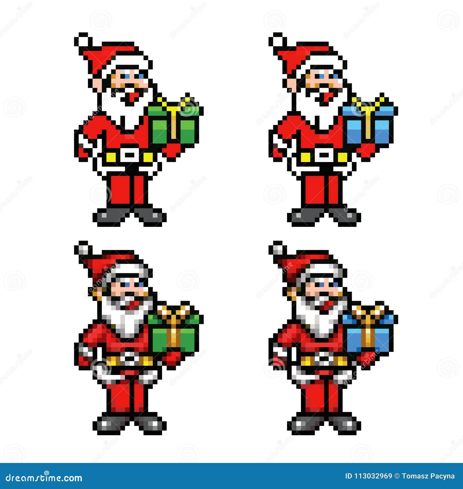 Colección de 8 bits del estilo del arte del pixel de Papá Noel