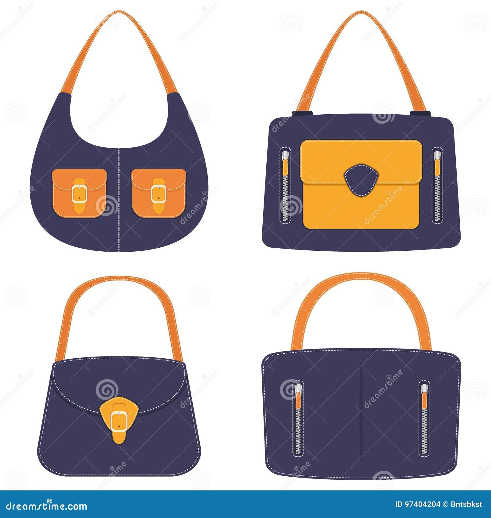 Colección de bolsos de cuero coloridos elegantes con los bolsillos y la costura blanca Bolso de la mujer, sistema Bolsos de las s