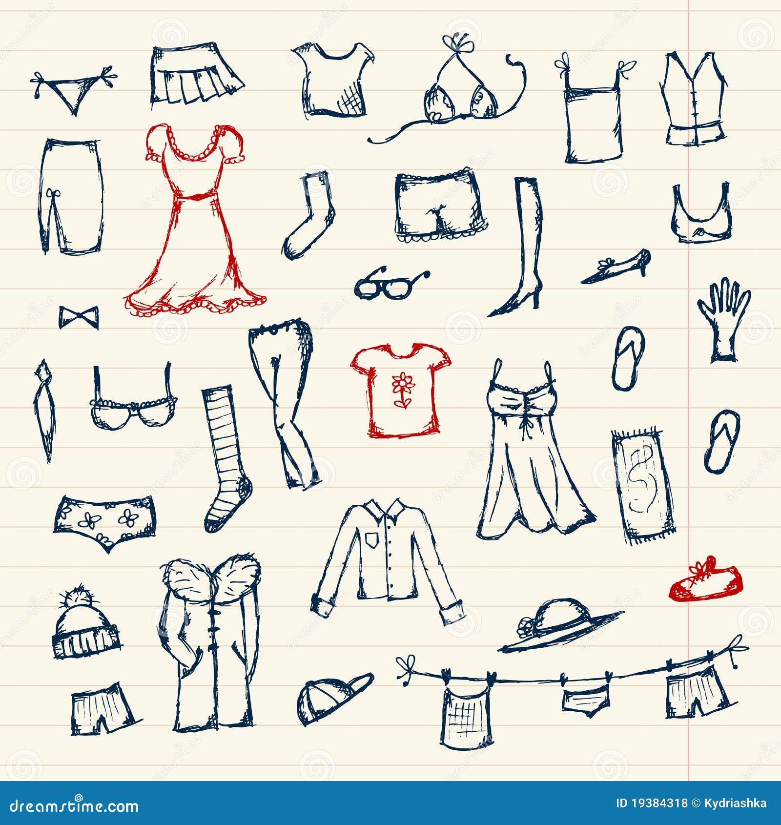 Colecci n de bosquejo de la ropa para su dise o fotos de for Diseno de ropa
